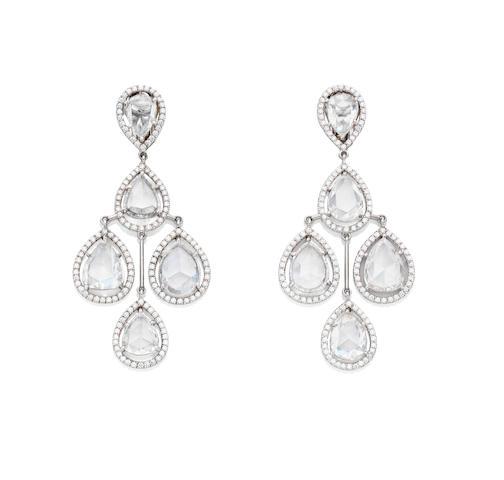 A pair of diamond chandelier earrings, by David Morris