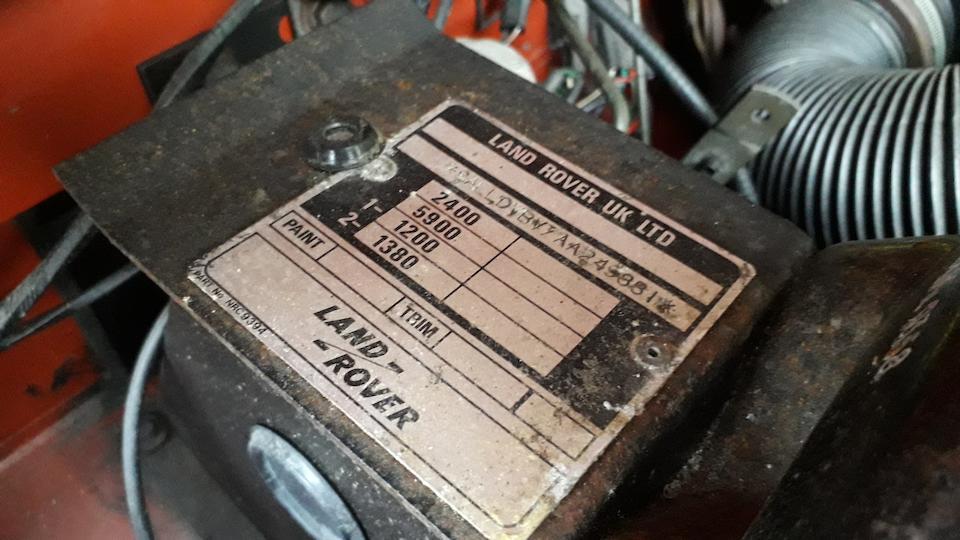 1987  Land Rover 90 Defender V8  Chassis no. SALLDVBV7AA249881