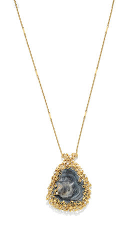 An agate and diamond pendant/necklace, by David Deakin,