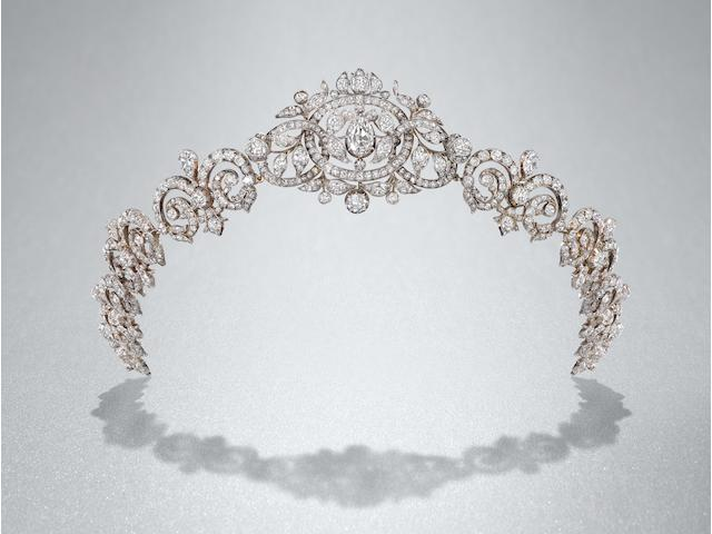 A mid 19th century diamond tiara/necklace combination