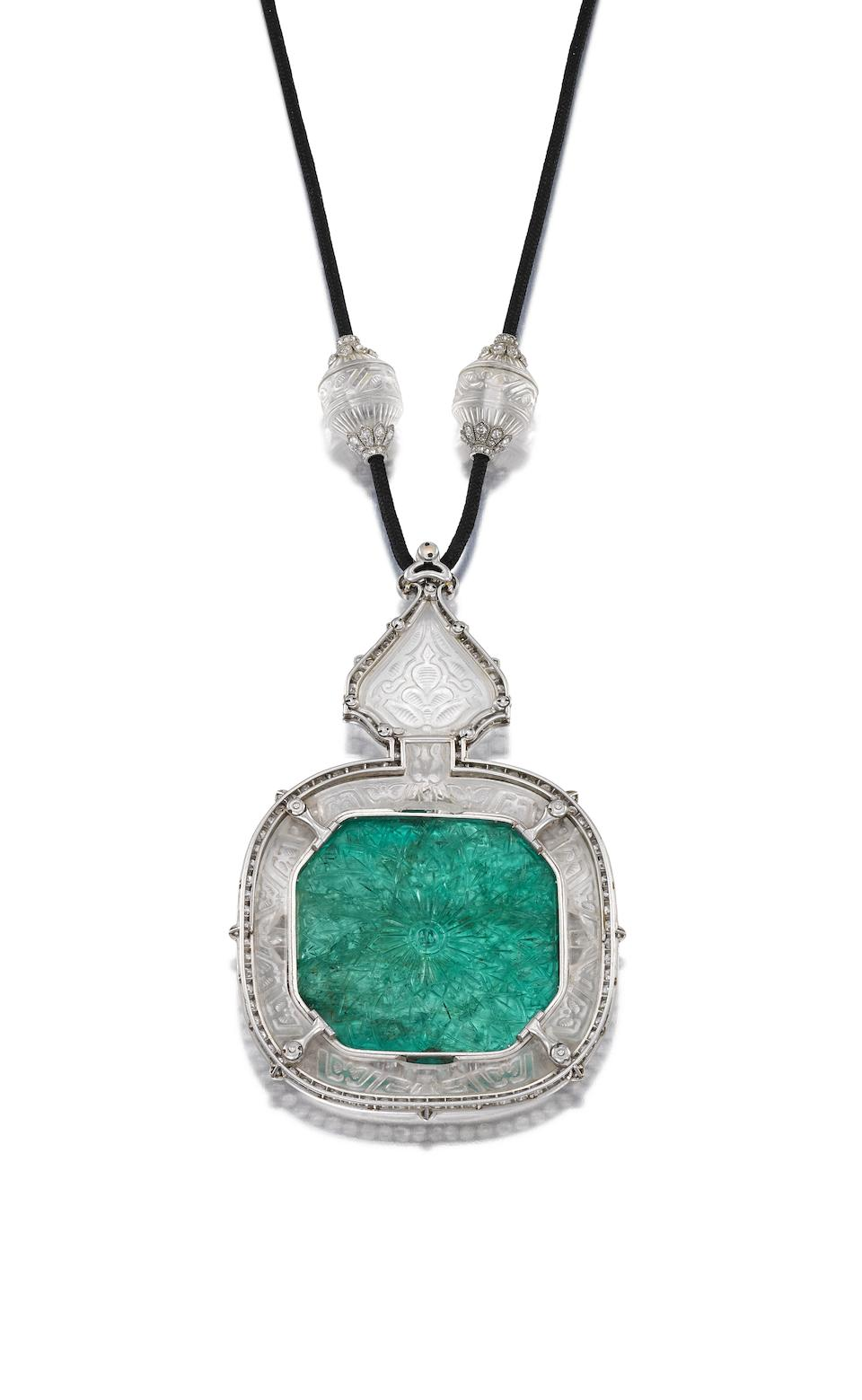Art deco carved emerald, rock crystal and diamond pendant, possibly by Cartier