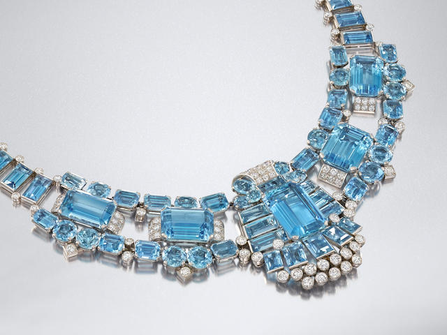 An Art Deco aquamarine and diamond necklace, by Cartier,