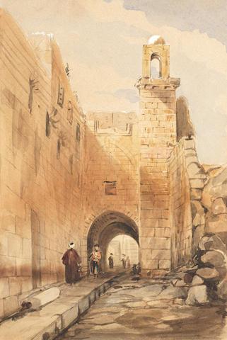 Derech Sha'ar ha-Arayot, Lion's Gate Street, Jerusalem British School, in the manner of David Roberts, 19th Century