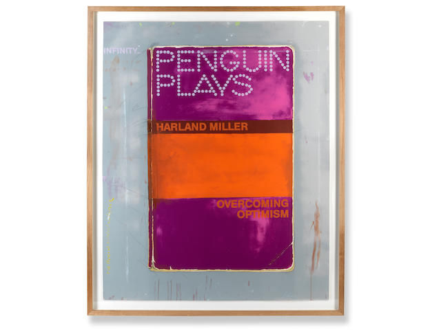 Harland Miller (British, born 1964) Overcoming Optimism  Screenprint in colours, 2014, on wove, signed and inscribed 'original proof' in white chalk, with further annotations in pencil, a proof aside from the numbered edition of 50, published by Ingleby Gallery, London, the full sheet printed to the edges, 1370 x 1090mm (54 x 43in)(SH)