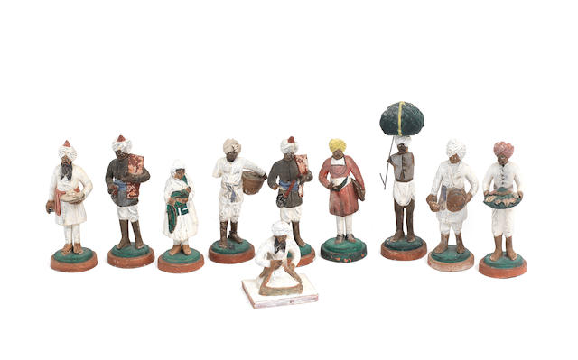 A group of company school terracotta figures of tradespeople Lucknow, 19th Century(10)