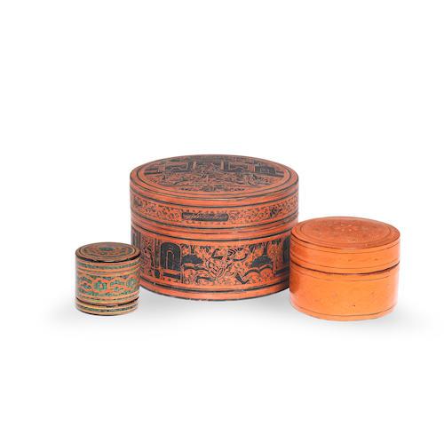 Three lacquer betel boxes Burma, 20th Century(3)