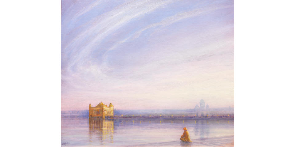 Derek Hare (British, b. 1945), Evening at the Golden Temple at Amritsar painted in 2007