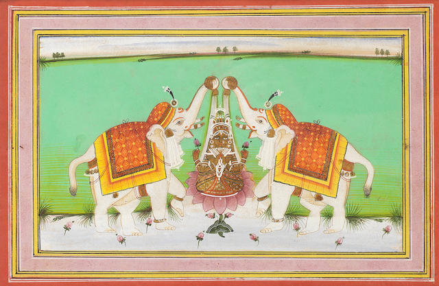 Gajalakshmi: the goddess Lakhshmi seated on a lotus, lustrated by two elephants Jaipur, second half of the 19th Century