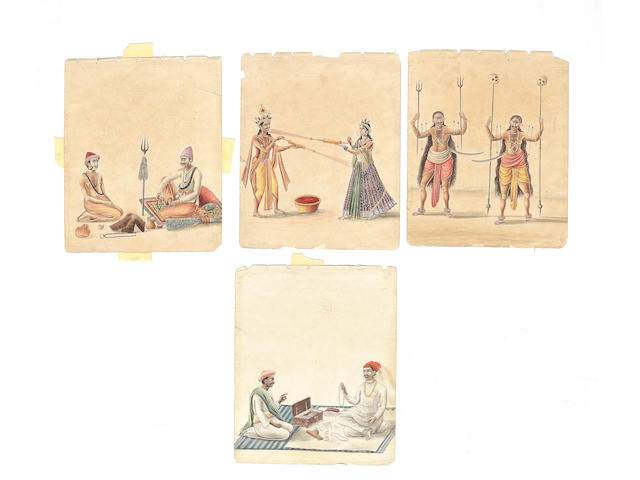 A group of thirty-three watercolours depicting merchants, tradespeople and participants in religious processions and festivals Patna, circa 1826-1830(33)
