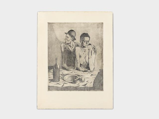 Pablo Picasso (1881-1973) Le Repas Frugal, from La Suite des Saltimbanques Etching with drypoint, 1904, on laid japon paper, a rich, atmospheric impression from the small deluxe edition of 27 or 29 impressions on this paper after steel-facing, printed by Louis Fort, published by Ambroise Vollard, Paris, 1913, with wide margins, in very good condition, framedPlate 463 x 377mm. (18 1/4 x 14 7/8in.); Sheet 592 x 505mm. (23 1/4 x 19 7/8in.)