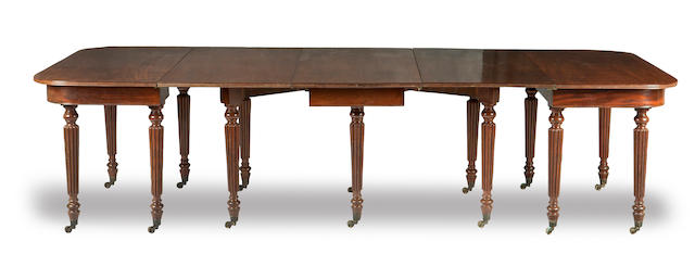 A mahogany William IV extending dining table Stamped Gillows, Lancaster