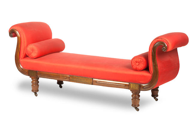 A George IV rosewood and brass inlaid chaise longue