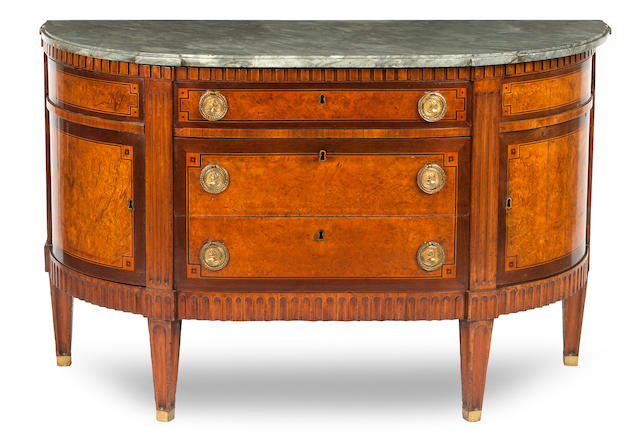 A late 18th Century Dutch burr-elm bowfront marble top commode