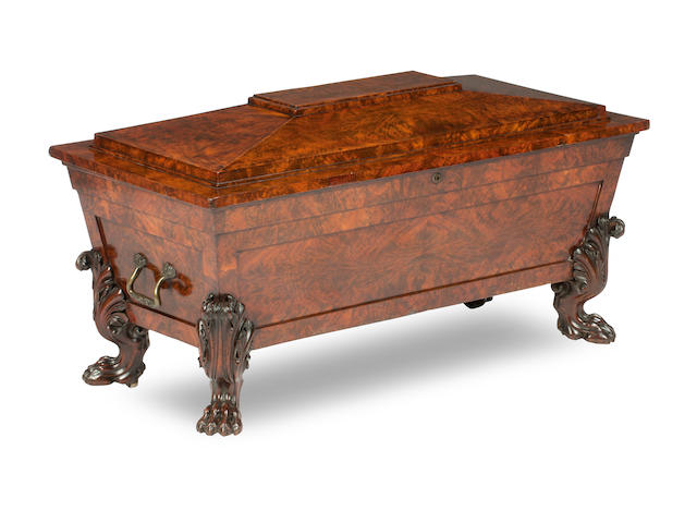 An oversized Regency mahogany cellaret