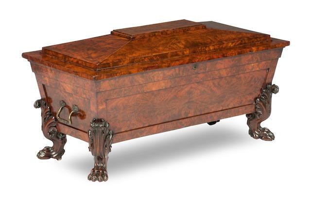 An oversized Regency mahogany cellaret