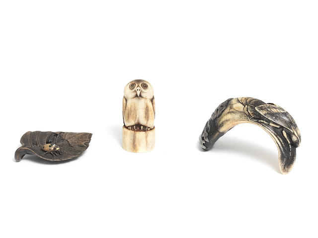 Three netsuke By Jack Coutu (1924-2017), English, carved August 1979 (no.73), September 1988 (no.150), and January-March 2007 (no.328) (6)