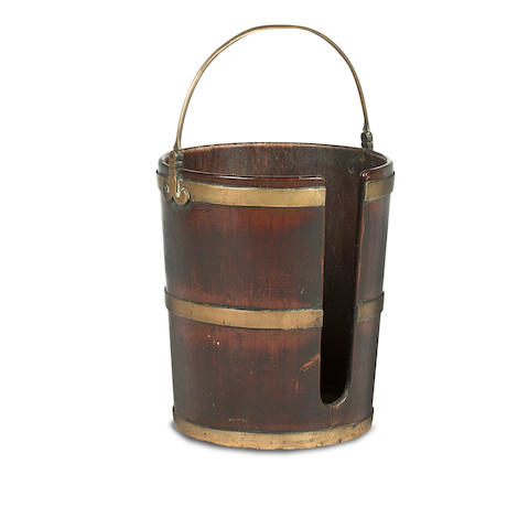A 19th century mahogany and brass mounted plate bucket
