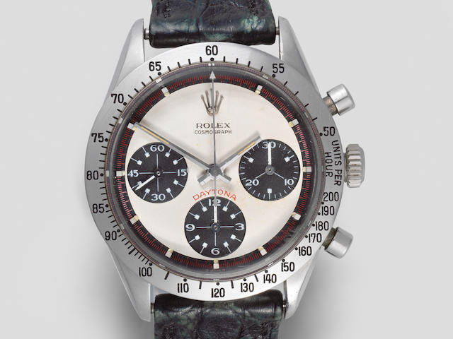 Rolex. An exceptionally rare stainless steel manual wind chronograph bracelet watch with exotic Paul Newman dial 'Paul Newman' Cosmograph Daytona, Ref: 6239, Circa 1967
