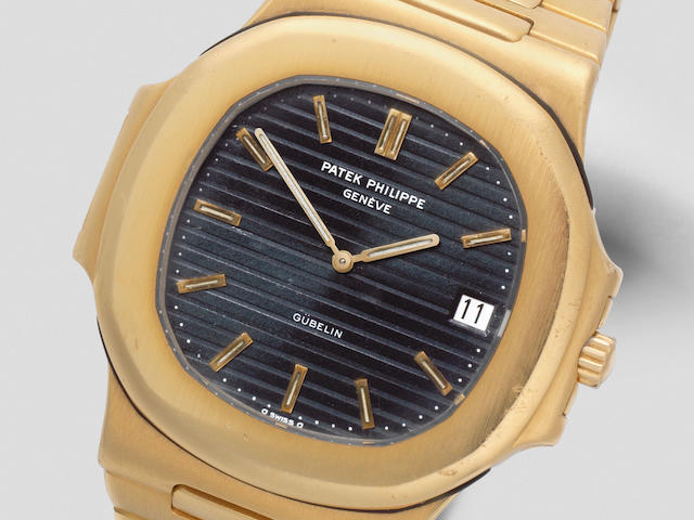 Patek Philippe. A fine and rare 18K gold automatic calendar bracelet watch retailed by Gübelin  Nautilus 'Jumbo', Retailed by Gübelin, Ref: 3700/11, Circa 1980