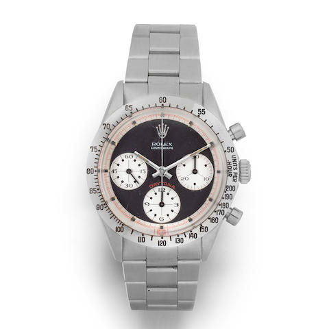 Rolex. A rare stainless steel manual wind chronograph bracelet watch with exotic Paul Newman dial  Paul Newman Cosmograph Daytona, Ref: 6239, Circa 1969