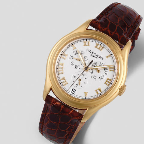 Patek Philippe. A recently serviced 18K gold automatic annual calendar wristwatch Annual Calendar, Ref: 5035, Sold 20th August 1997