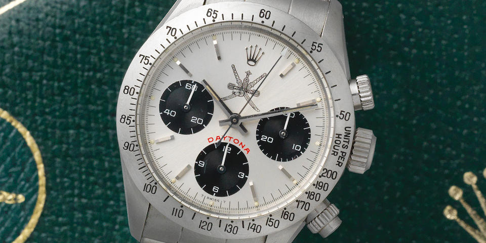 Rolex. An extremely rare stainless steel manual wind chronograph bracelet watch with 'Khanjar' dial  Cosmograph Daytona, Ref: 6265/6263, Circa 1980