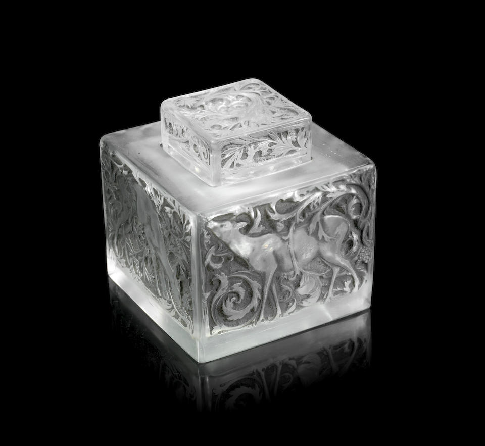 RENÉ LALIQUE (FRENCH, 1860-1945) A Rare Pre-War Variation of the 'Biches' Inkwell, design introduced in 1913