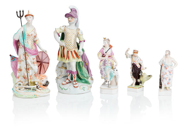 Five Derby figures Late 18th Century
