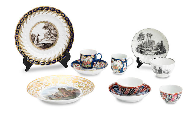 A Chamberlain plate from the Heathcott of Bath service and a group of English porcelain 18th Century