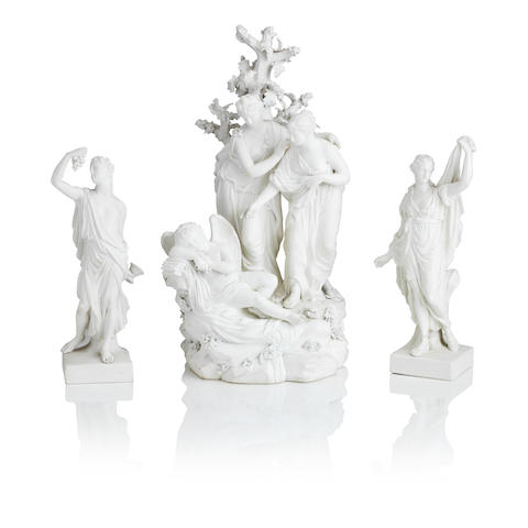 A pair of Derby biscuit figures of Ariadne and Bacchus and a Derby biscuit group of Virgins awakening Cupid Circa 1775-80