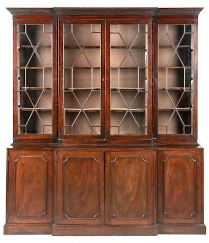 A George III mahogany breakfront bookcase