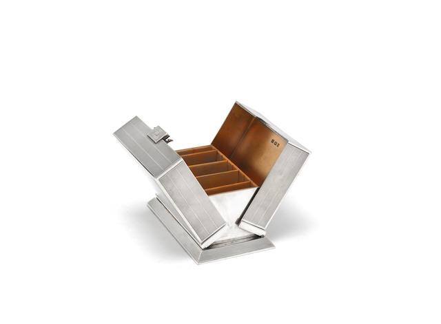 An Art Deco silver cigarette box by Sampson Mordan & Co, London 1932
