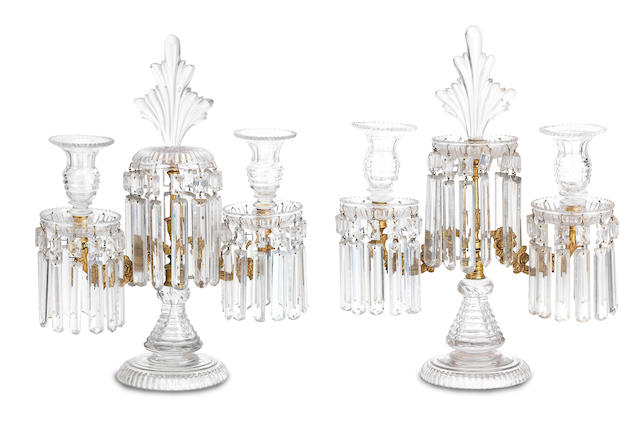 A pair of cut glass and gilt metal twin-branch candelabra Late 19th Century