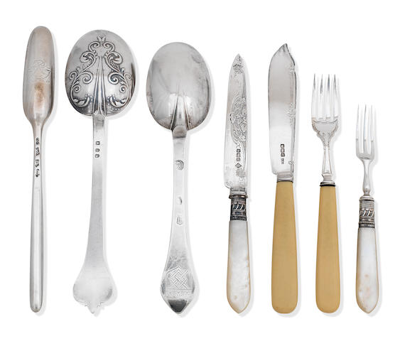 A collection of antique silver flatware various makers and dates
