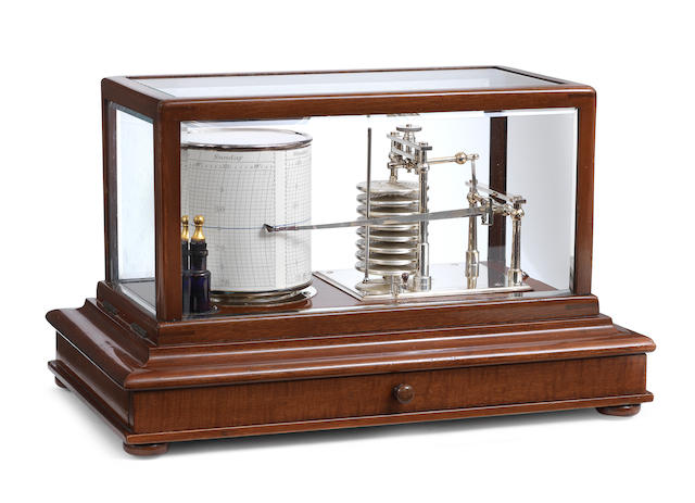 A late 19th century mahogany and nickle plated Barograph  Engraved K Bottomley & Baird Ltd, Glasgow, no.133128