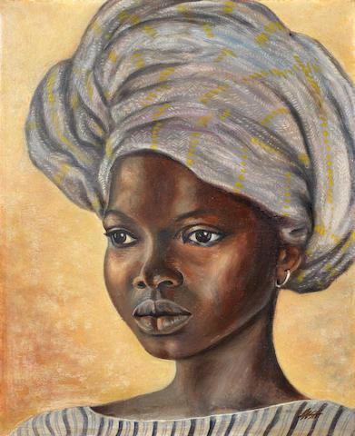 Akinola Lasekan (Nigerian, 1921-1972) Portrait of a girl wearing a headscarf