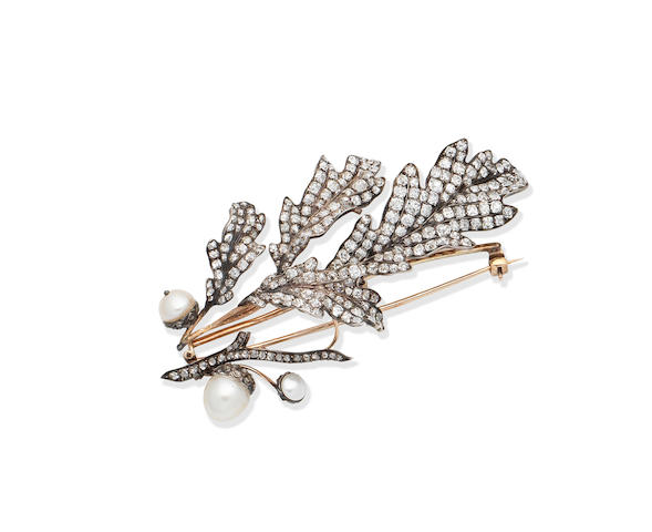 A diamond and pearl brooch, French, circa 1890