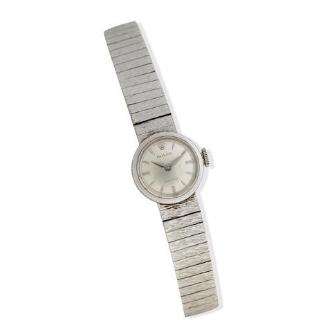 Rolex: A lady's 9k white gold bracelet manual wind wristwatch Precison, London 1967