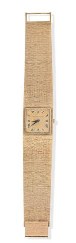 Bueche Girod: A 9k gold bracelet manual wind wristwatch London 1972