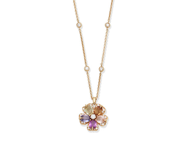 A gem-set 'Sapphire Flower' pendant necklace, by Bulgari