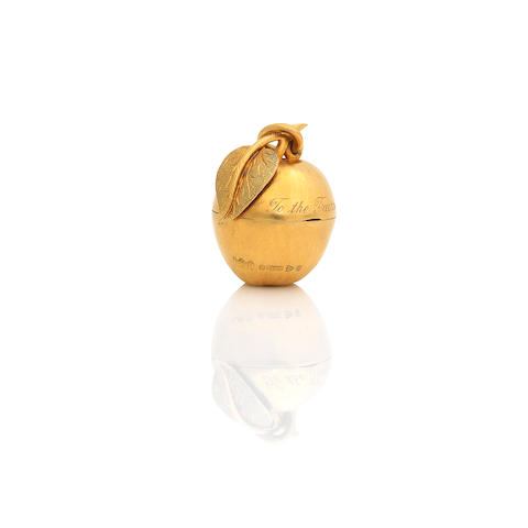 A Gold Vinaigrette or Pill Box Formed as an Apple marked: 9, .375, by John William Barrett, Chester, 1916