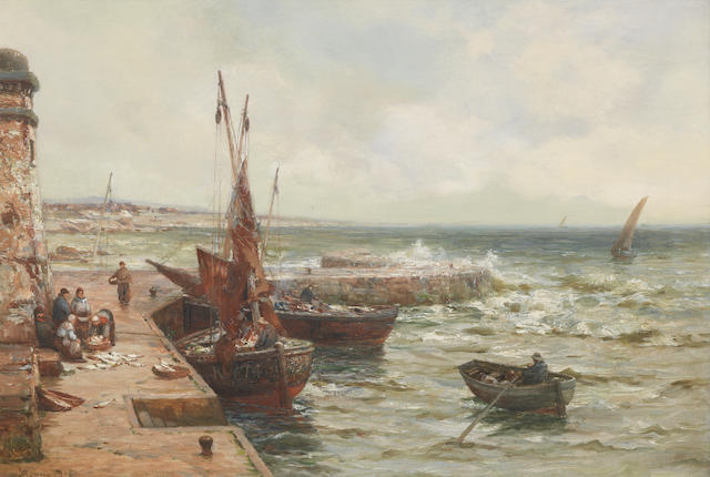Alexander Young (British, 1865-1923) Unloading the catch, Fife
