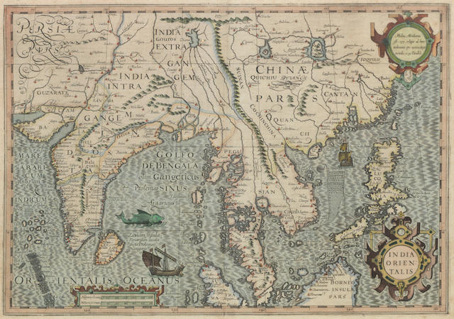 India Orientalis - Map of Southern Asia,  printed in Amsterdam by H. Hondius, signed 'Mercator Hondius 1630' to mount, 57.5 x 51cm