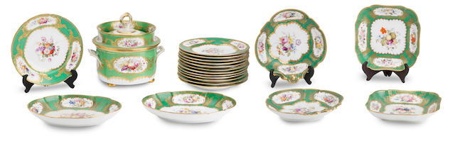 An English porcelain part dessert service 19th Century