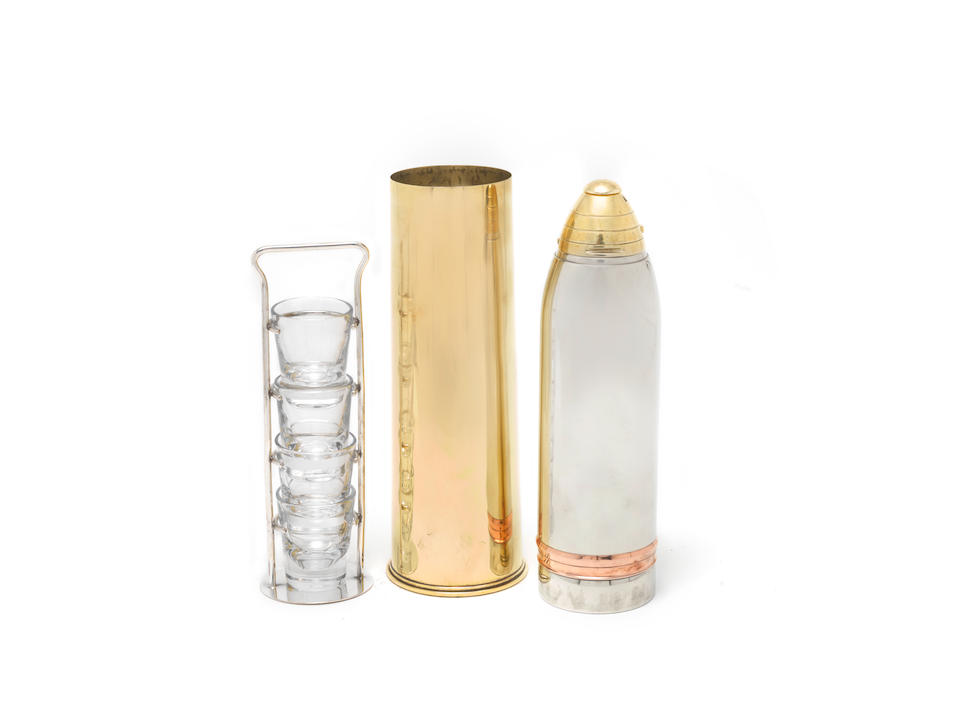 A silver-plated, brass and copper novelty cocktail shaker, modelled as an 18 pounder artillery shell Gorham Manufacturing Company, America circa 1920