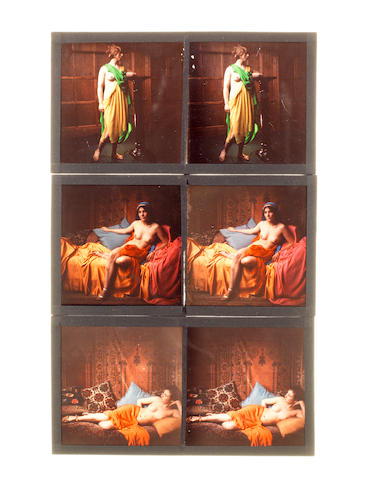 A collection of fifteen glass stereoscopic autochromes of nudes,  probabaly French,  circa 1925,