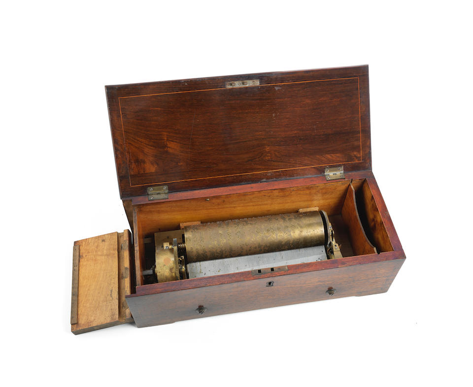 A four overture key-wound cylinder musical box,  Swiss,  mid 19th century,