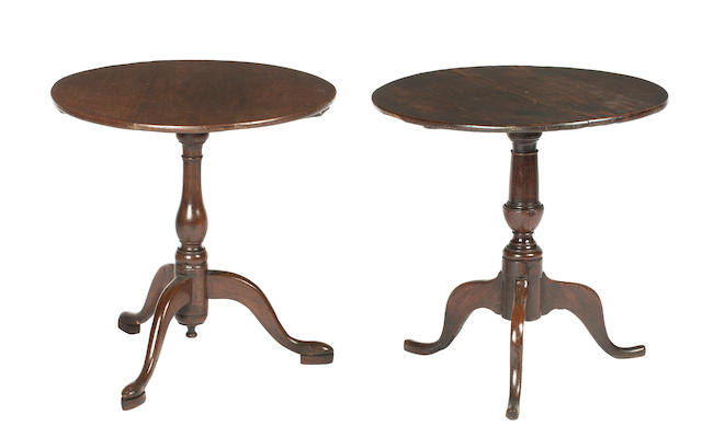 Two 18th century provincial oak tripod tables (2)