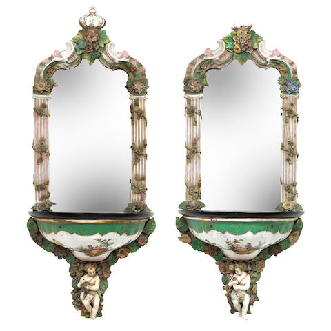 A pair of Dresden porcelain mirror-backed shelves Late 19th Century