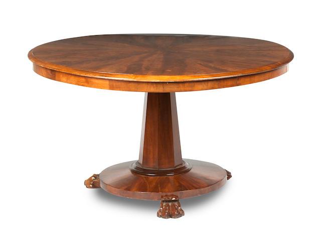 A mid 19th century and later mahogany circular centre table